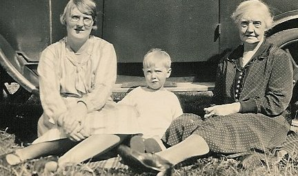 Agnes (Netherwood) Haigh, daughter Marjorie and grandson Peter picnicking